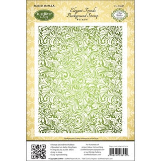 Justrite Stampers Cling Background Stamp-Elegant Fronds