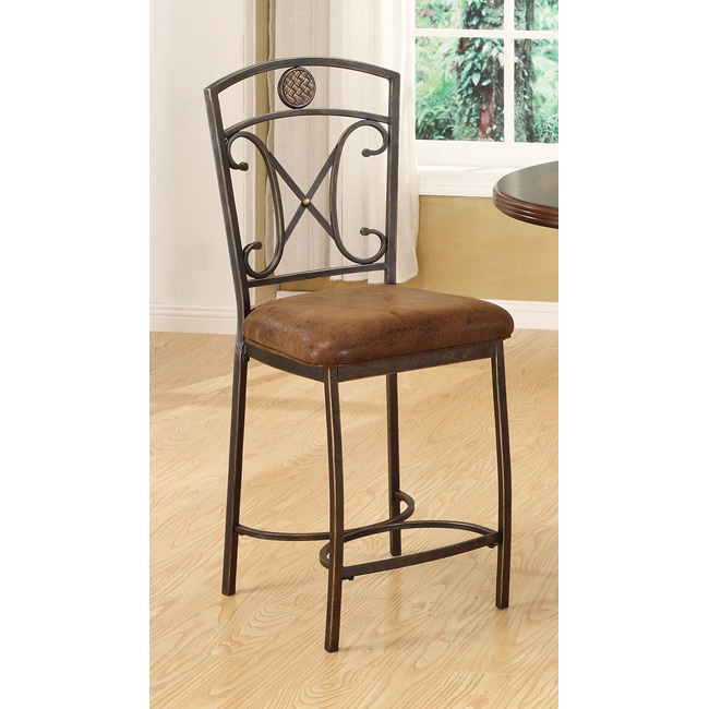 Tavio Saddle Brown Counter Height Chair Set Of 2 Free