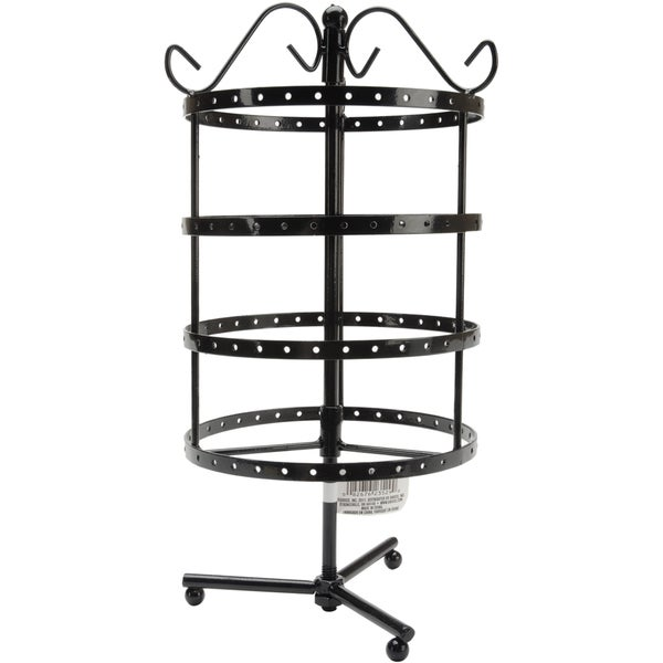 "4 Tier Round Metal Spinner Earring Rack 6.5""X6.3""X8.9""-Black"