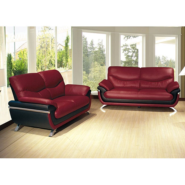 Alicia red black two tone modern sofa and loveseat set free shipping today Red sofas and loveseats