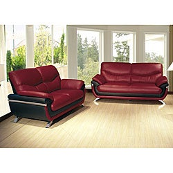 Alicia Red/ Black Two-tone Modern Sofa and Loveseat Set