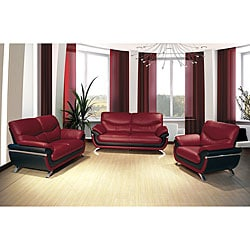 European Alicia Red/ Black 3-piece Modern Sofa Set