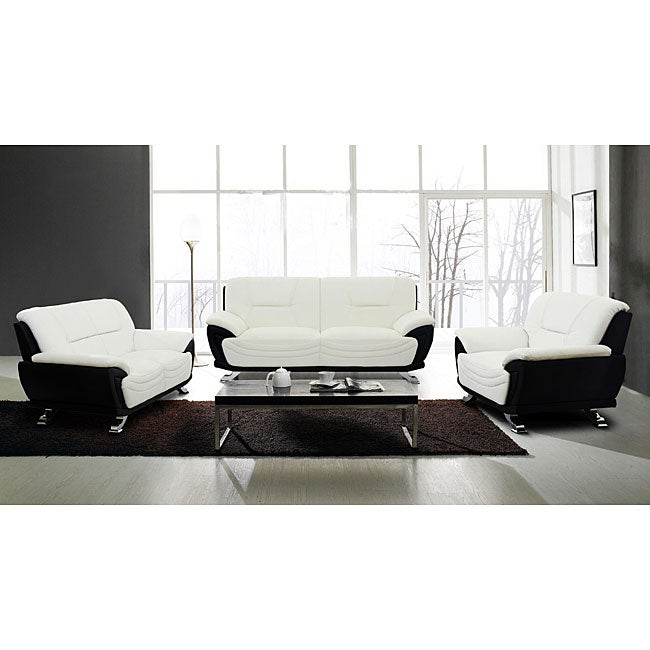 European alicia white black 3 piece modern sofa set for Modern black and white furniture