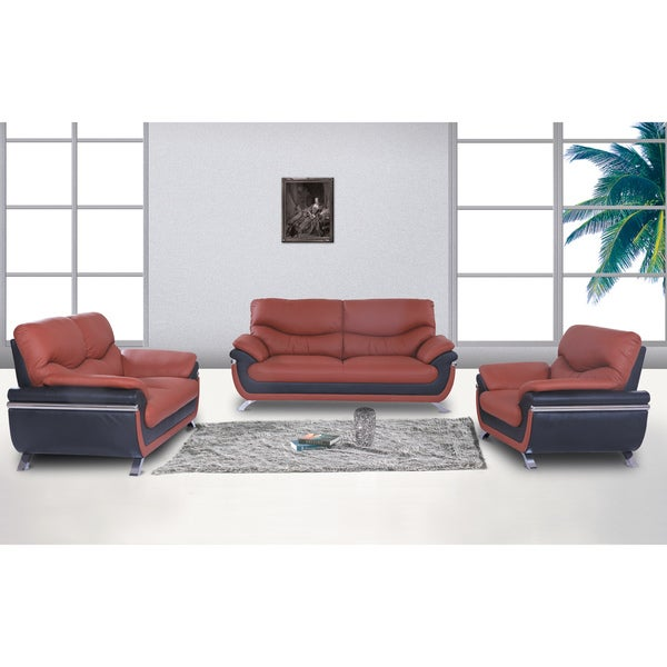 European Alicia Orange/ Black 3-piece Modern Sofa Set