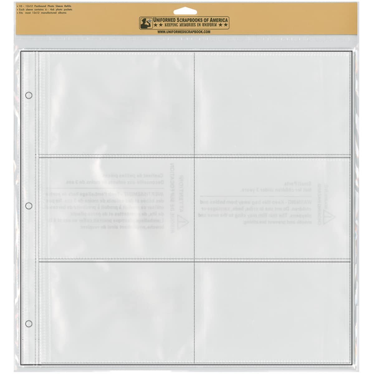 "12""X12"" Photo Sleeve Refill Pages 10/Pkg-6 - 4""X6"" Photo Pockets Per Page"