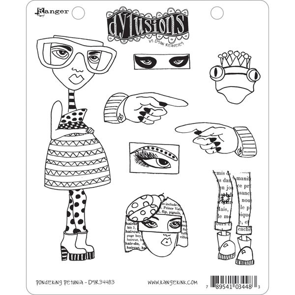 Dyan Reaveley's Dylusions Cling Stamp Collection-Pondering Petunia