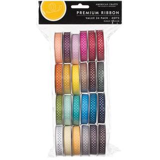 """Value Pack Premium Ribbon 24 Spools (.375""""X4 Feet Each)-Dot Grosgrain"""