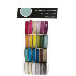 "Value Pack Premium Ribbon 24 Spools (.375""X4 Feet Each)-Solid Satin"