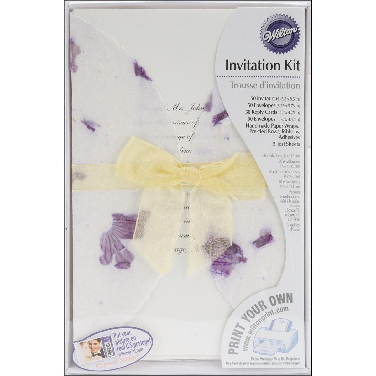 Thumbnail Invitation Kit 50/Pkg-Pressed Floral/Lavender ...