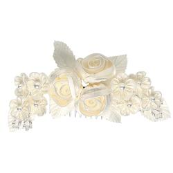 Headpiece-Ivory Flowers