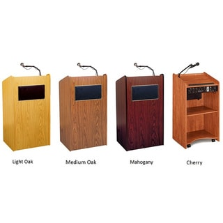 Aristocrat Floor Lectern with Speakers Amplifier and Wireless Mic
