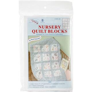 """Stamped White Nursery Quilt Blocks 9""""X9"""" 12/Pkg-ABC"""
