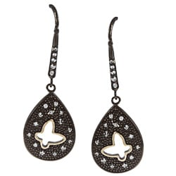 La Preciosa Sterling Silver Black Rhodium Butterfly CZ Cut-out earrings