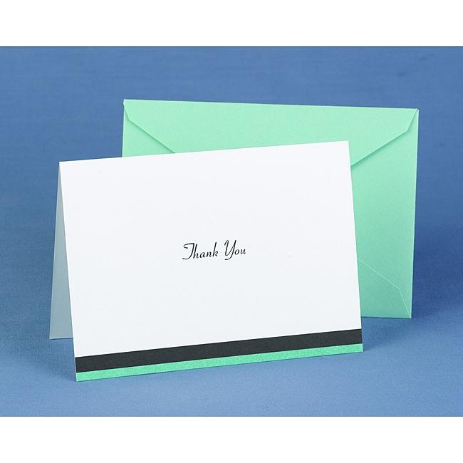 Hortense B. Hewitt Aqua Trimmed Thank You Cards (Set of 50)
