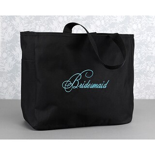Hortense B. Hewitt Bridesmaid Flourish Black Polyester Tote Bag
