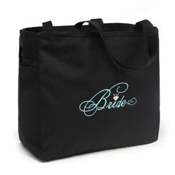 Black 'Bride' Diamond Design Silver-embroidered Polyester Tote Bag