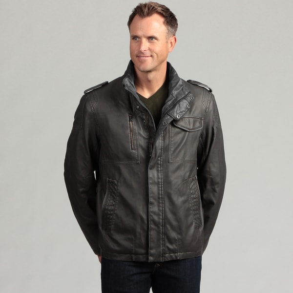 Izod Men's Faux Leather Zip-up Jacket