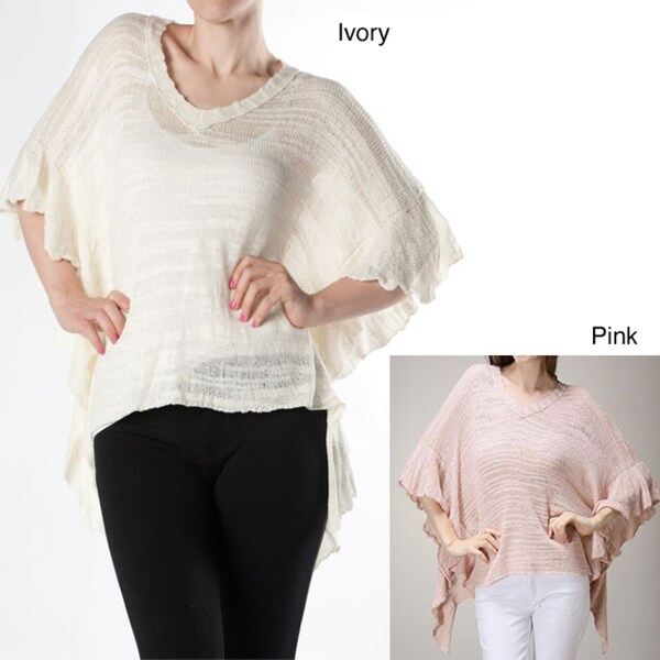 Tabeez Women's Ruffle Poncho Sweater