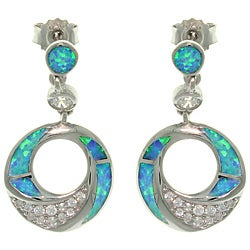 Carolina Glamour Collection Sterling Silver Created Opal and Brilliant CZ Circle Drop Earrings