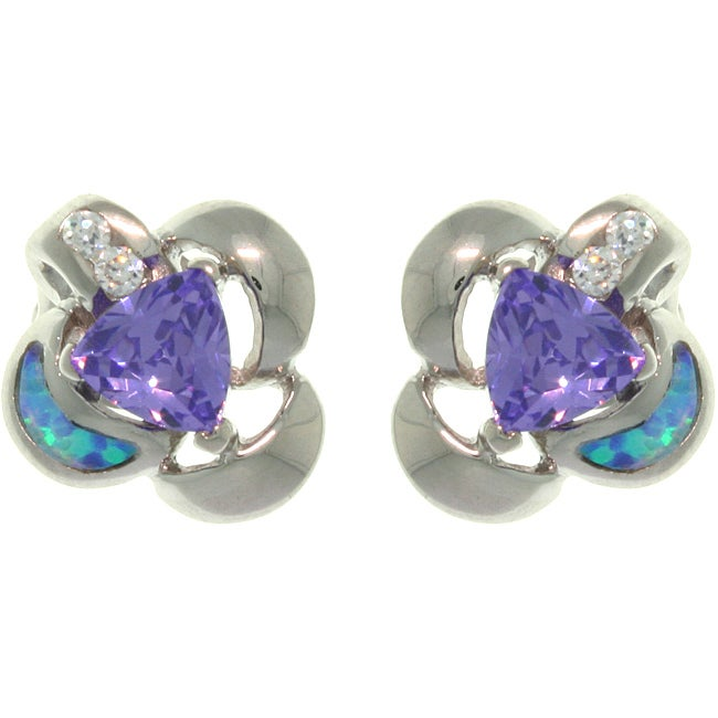 Carolina Glamour Collection Sterling Silver Created Opal and Purple CZ Floral Earrings