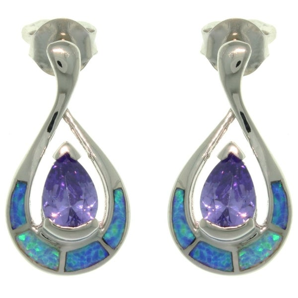Sterling Silver Created Opal Tear Drop with Purple CZ Earrings