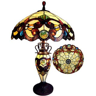 Chloe Tiffany Style Victorian Design Double Lit 2+1-light Table Lamp