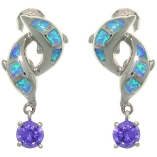 Sterling Silver Created Opal Double Dolphins with CZ Drop Earrings