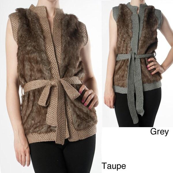 Tabeez Women's Faux Fur/ Knit Vest