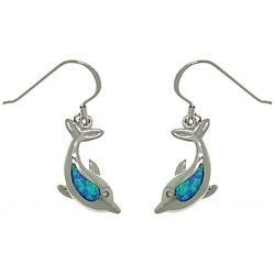 Carolina Glamour Collection Sterling Silver Created Opal Sea Dolphin Earrings
