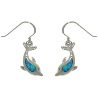 Sterling Silver Created Opal Sea Dolphin Earrings