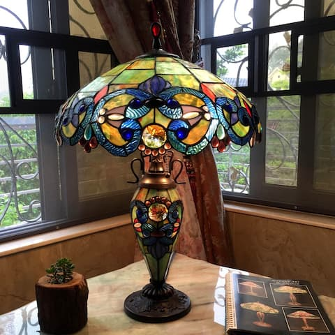 Tiffany Style Victorian Design 2 and 1-light Table Lamp