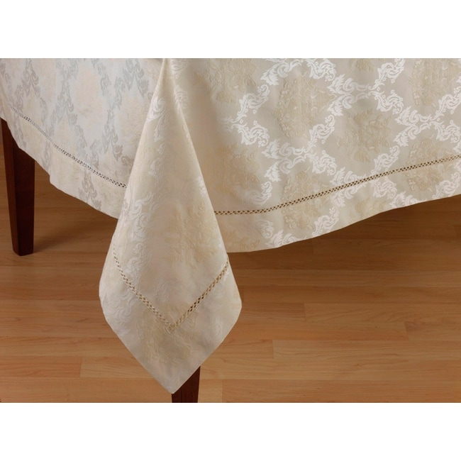 Ivory Drawnwork Damask Dining Room Tablecloth - Thumbnail 0