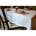 White Satin Band Egyptian Cotton 63x120-inch Tablecloth
