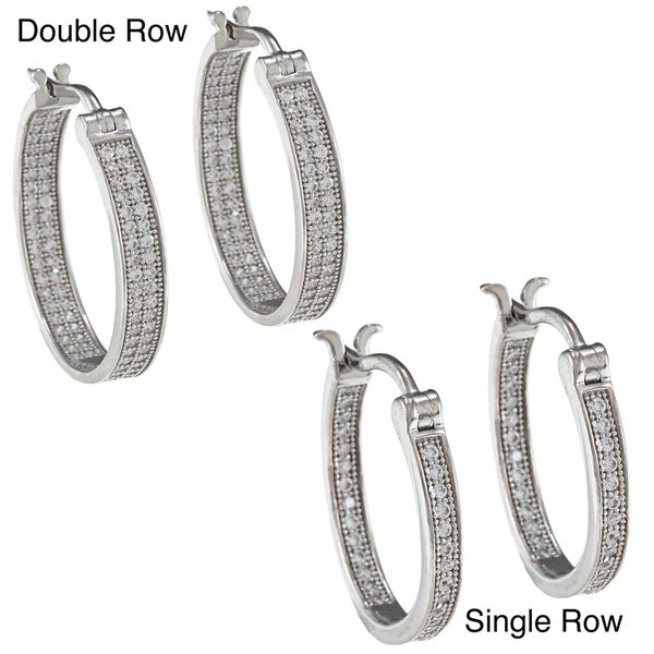 La Preciosa Sterling Silver Micro-pave Hoop Earrings