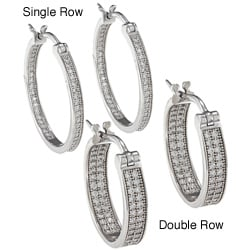 La Preciosa Sterling Silver Inside/ Outside Hoop Earrings
