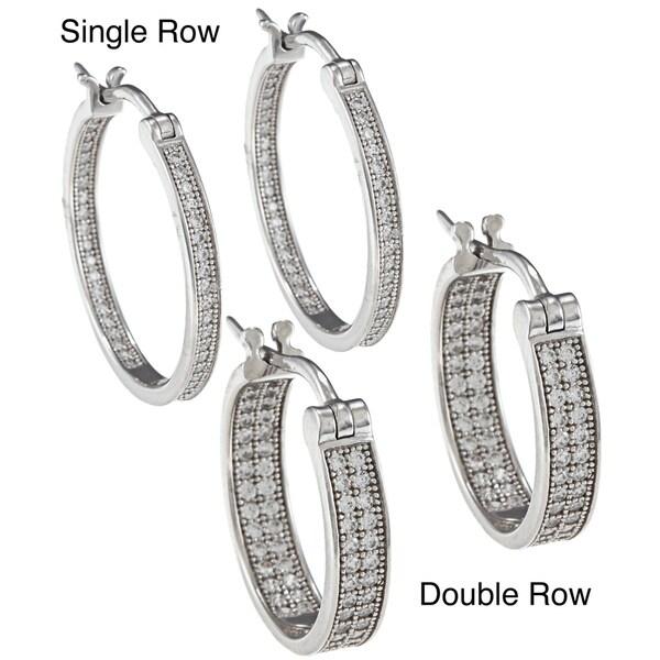 La Preciosa Sterling Silver Inside/ Outside Hoop Earrings