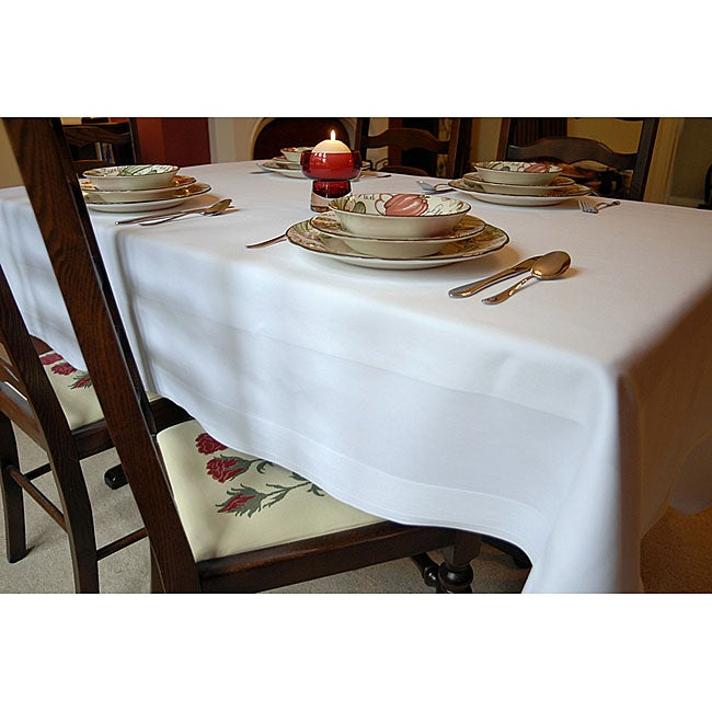White Satin Band Egyptian Cotton 72x72-inch Tablecloth