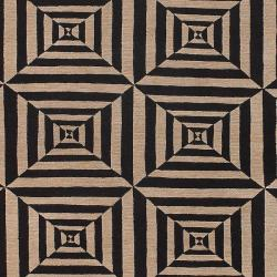 Hand-knotted Multicolored Oconto Hand Carded New Zealand Wool Rug (2' x 3') - Thumbnail 2