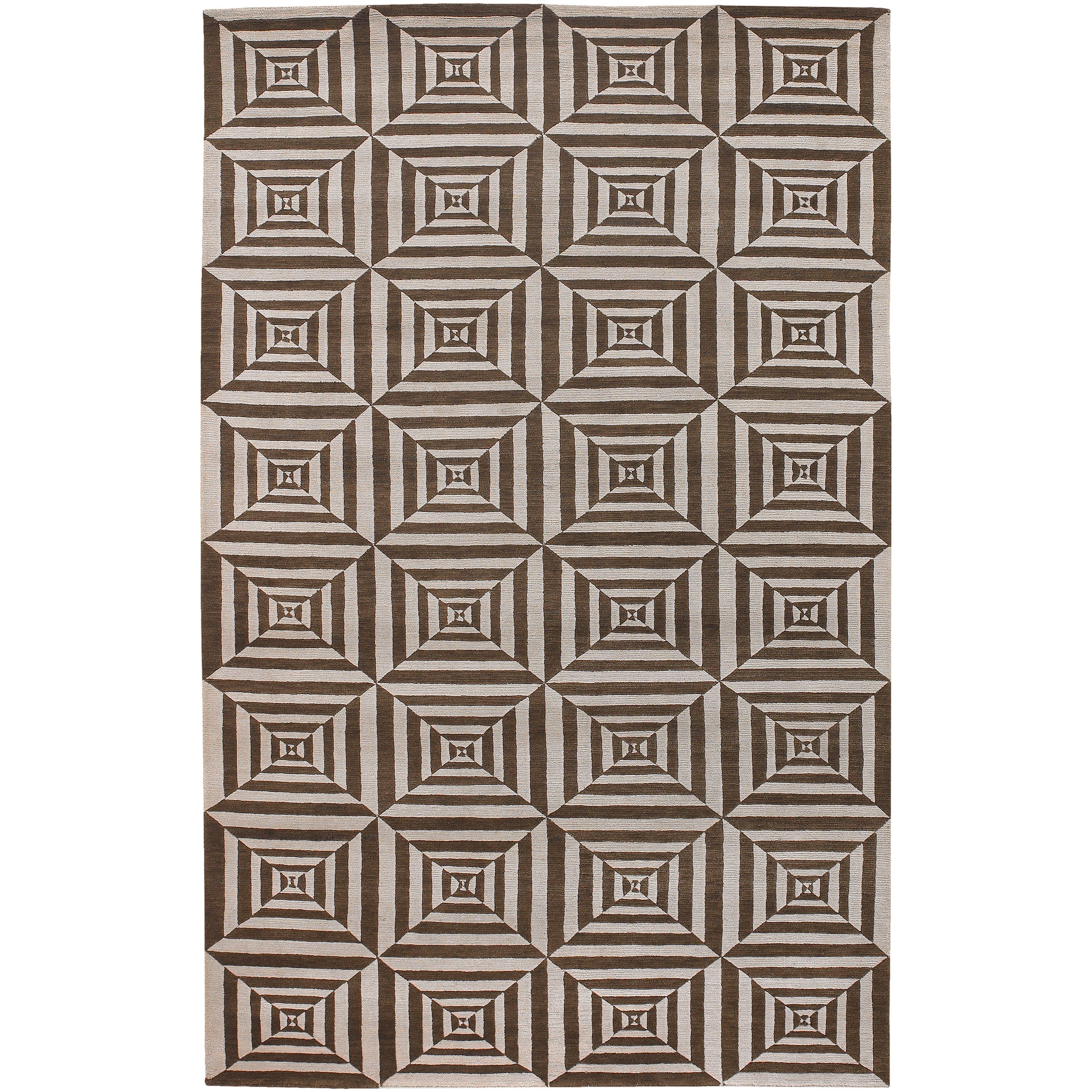 Transitional Hand-Knotted Multicolored Oconto Hand-Carded New Zealand Wool Area Rug - 5' x 8'