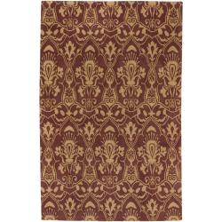 Hand-knotted Multicolored Burgundy Oconto Hand Carded New Zealand Wool Rug (5' x 8')