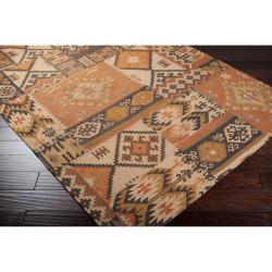 Hand crafted Tan/Orange Southwestern Aztec Portage  Wool Rug (2' x 3') - Thumbnail 1