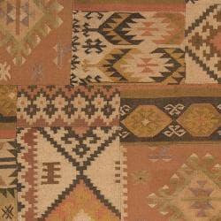 Hand crafted Tan/Orange Southwestern Aztec Portage  Wool Rug (2' x 3') - Thumbnail 2