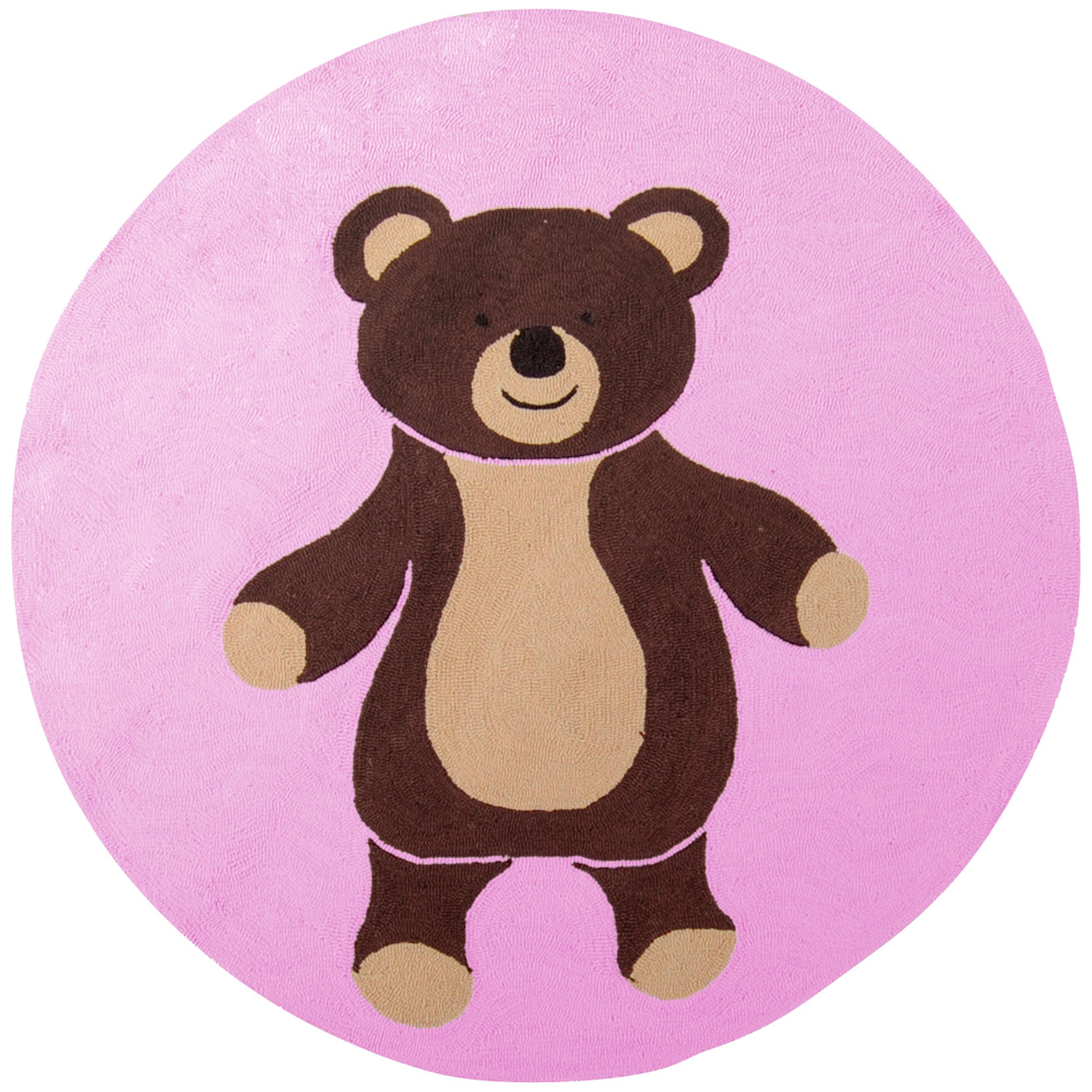 Hand-Hooked Pink/Multicolored Bear Portage Rug (8' Round)