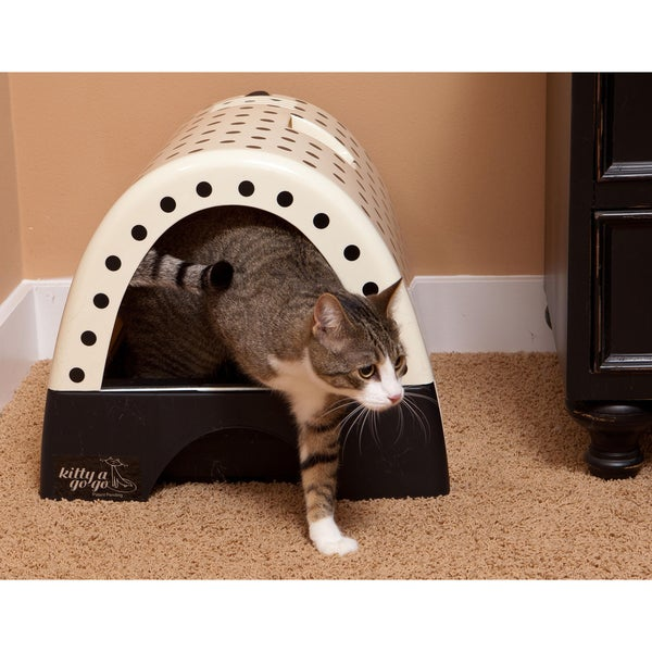Kitty A Go Polka Dot Print Designer Cat Litter Box