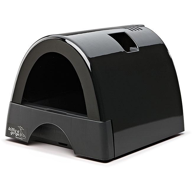 Kitty A GoGo Black Plastic Designer Cat Litter Box with ...