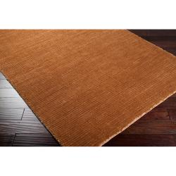 Hand-woven Solid Golden Brown Casual Portage Rug (2' x 3') - Thumbnail 1