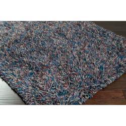 Casual Handwoven Multicolored Sauk New Zealand Wool Shag Rug (2' x 3')