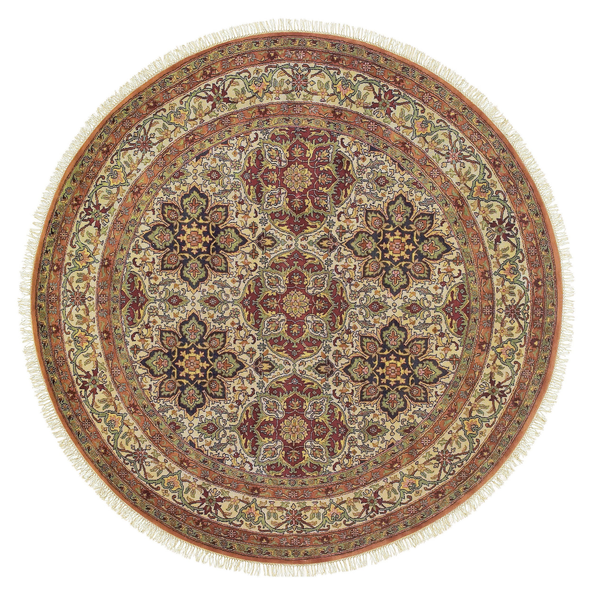 Hand-Knotted Multicolored Burgundy Borough Semi-Worsted Traditional New Zealand Wool Rug (8' Round)