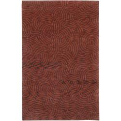 Red Hand-Knotted Multicolored Vilas Abstract Design Wool Rug (4' x 6')