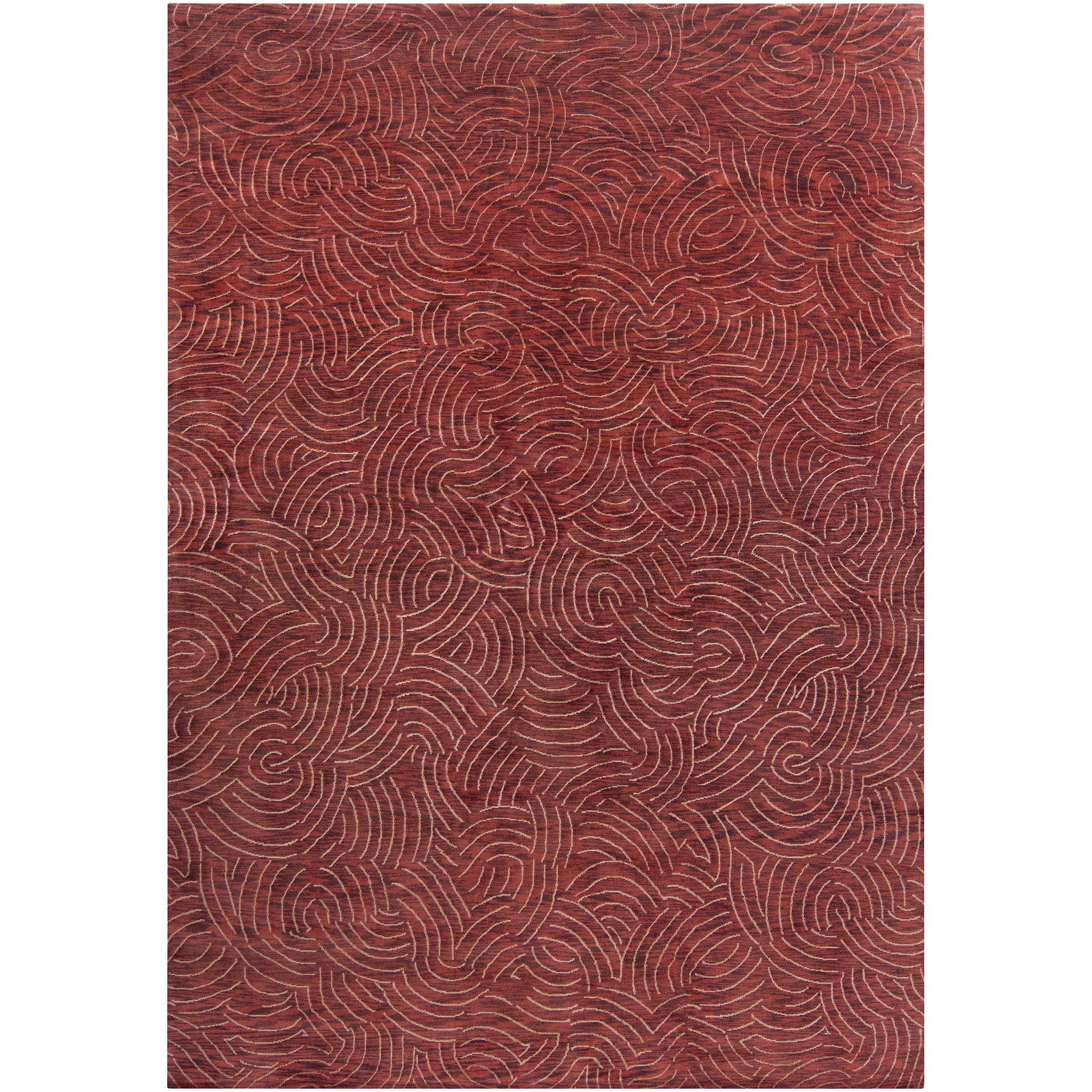 Hand-Knotted Multicolored Vilas Contemporary Abstract-Design Wool Area Rug - 5' x 8'